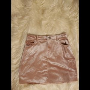 Faux velvet mini skirt